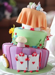 Alice in Wonderland cake back by Say it with Cake, via Flickr
