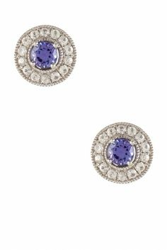 """Savvy Cie White Sapphire Jacket  Tanzanite Stud Earrings  $99.97/$595. 83% Off Rhodium plated pave white sapphire  milgrain trim,removable filigree jacket w/ prong set tanzanite stud earrings Post back Removable jacket Approx. 11mm D stud Approx. 0.5"""" D jacket Imported /GIFT W/ PURCHASE(per order): Receive $75 Black CZ Faceted Heart Pendant Necklace Rhodium plated black cubic zirconia open heart shape pendant necklace Spring ring clasp Approx. 18"""" length chain  1"""" L x 20mm W pendant-Imported"""