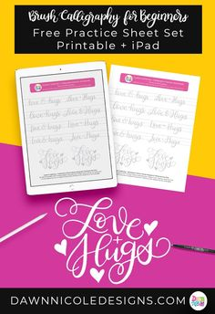 Love + Hugs Brush Calligraphy Practice Sheets. Grab these free brush calligraphy practice sheets in printable and Procreate friendly formats! #ipadlettering #moderncalligraphy #procreate #brushlettering #brushcalligraphy