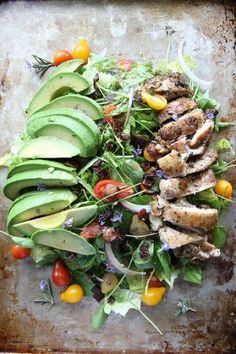 Rosemary Chicken, Avocado and Bacon Salad with watercress, cherry tomatoes and rosemary vinaigrette by Heather Christo