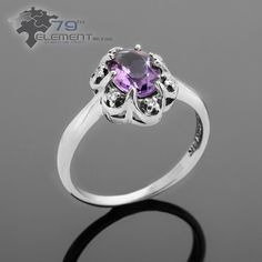 Piękny i niezwykły pierścionek z ametystem i brylantami, na zaręczyny i nie tylko #pierscionkizareczynowe