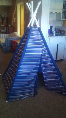kids' teepee with PVC pipe and bedsheets