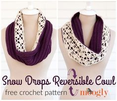 Snow Drops Reversible Cowl by Moogly. Get 2 looks in 1 with Moogly's new reversible crochet cowl pattern! Make it with LB Collection Superwash Merino and save 20% for a limited time. Pattern calls for 2 balls of yarn (pictured in ivory and eggplant) and a size I (5.5mm) crochet hook.