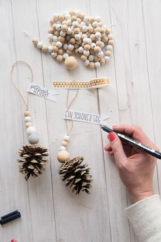 Pine cones deco for fall and christmas a fast DIY idea pine cones for the or as Tannenzapfen für den oder als - Christmas Day Collectible Christmas Ornaments 2018 Christmas Ornaments For Newlyweds pinecones para o como - Navidad Arts And Crafts Storage Clay Christmas Decorations, Diy Christmas Ornaments, Homemade Christmas, Christmas Holidays, Christmas Crafts, Christmas Design, Fall Crafts, Pinecone Ornaments, Christmas Ideas