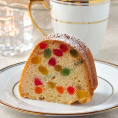 Gumdrop Cake – a dense buttery pound cake packed with brilliantly colored morsels of gumdrop candy. It's very popular during the Holidays or as a birthday cake here in Newfoundland. Baking Recipes, Cake Recipes, Dessert Recipes, Yummy Recipes, Sweet Recipes, Gumdrop Cake Recipe, Gum Drop Cake, Newfoundland Recipes, Canadian Food