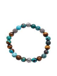 Men's Wristband with Bali Turquoise, Tiger Eye and Indian Silver - Nialaya Jewelry Gemstone Bracelets, Bracelets For Men, Leather Jewelry, Silver Jewelry, Silver Rings, Semi Precious Beads, Bracelet Designs, Stone Jewelry, Etsy Earrings