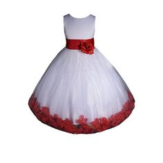 Amj dresses inc white red flower girl christmas dress size 8 baby