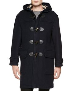 Long Wool Duffle Coat, Navy  by Burberry Brit at Neiman Marcus.