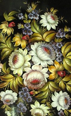 Zhostovo handicraft from Russia. A floral pattern. Art Floral, Pintura Tole, Azulejos Art Nouveau, Poster Mural, Russian Folk Art, Art Populaire, Russian Painting, Painted Trays, Illustration Art