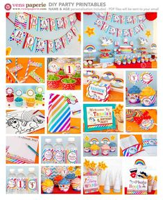 Unicorn Rainbow Party Birthday Package Personalized FULL Collection Set - PRINTABLE DIY, magical unicorn birthday party decoration, magical unicorn party supply