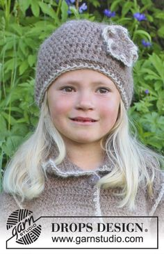 "Crochet DROPS coat and hat with decorative edges in ""DROPS ♥ YOU #4"" or ""Nepal"". Size 3 - 12 years. ~ DROPS Design"