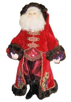 Saint Nikolai Santa Claus Figurine Katherines Collection is a 28 inch tall Santa dressed in jeweled and brocade velvet.  #SantaClaus  #Christmas  #HolidayDecor  #ChristmasDecor  #TreasureJourneys