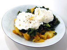 Roasted Sweet Potato and Kale -- with or without the poached egg, this is one of my favorite dishes. I like my sweet potatoes a little more crisp/caramelized on the surface.