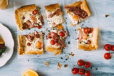Bacon, Egg & Tomato Breakfast Tart Recipe from Everyday Gourmet with Justine Schofield Tomato Breakfast, Breakfast Dishes, Breakfast Tart Recipe, Breakfast Recipes, Brunch Recipes, Gourmet Recipes, Brunch Food, Egg Tart, Food For A Crowd
