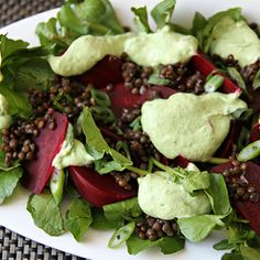 beet, lentil & watercress salad w/ creamy cilantro dressing. Watercress Salad, Asparagus Salad, Beet Salad, Healthy Dips, Healthy Recipes, Sauce For Grilled Chicken, Creamy Cilantro Dressing, Three Bean Salad, Fresh Beets