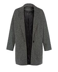 Black Pattern (Black) Dark Grey Boyfriend Coat | 291862409 | New Look