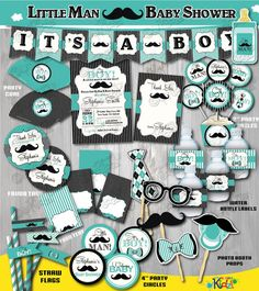 On Sale! Little Man Baby Shower Package-Printable Mustache Baby Shower Decoration-Mustache Party-Teal Little Man Baby Shower Decorations. ============================= IMPORTANT NOTES Please read before purchasing! ============================= * DIGITAL printable PDF files ONLY. No