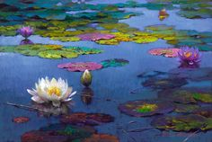 Lily Pond at Dusk - Victor Nizovtsev, painter of fables, fantasy, theatrical and imaginative art Lily Painting, Modern Oil Painting, Oil Painting On Canvas, Painting & Drawing, Victor Nizovtsev, Colorful Paintings, Art Plastique, Flower Art, Fantasy Art
