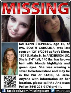 12/16/2015: Kaitlynn Stephens, age 16, is #missing from Anderson, South Carolina.