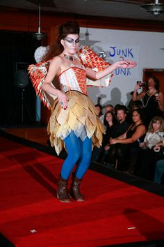 """""""Put a Bird on It..From Drab to Fab"""" by Holy Klikna & Zona Junker. Made of dryer sheets, cereal box tops, old zippers, old tissue paper. Featured in the 2012 Junk2Funk Eco-Fashion show, a benefit of the Kootenai Environmental Alliance that showcases the runway outfits made from recycled materials by local artists."""