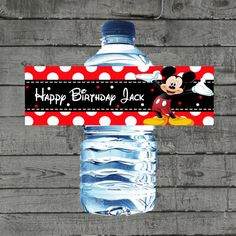 Mickey Mouse Water Bottle Labels Mickey by PartyPrintableInvite