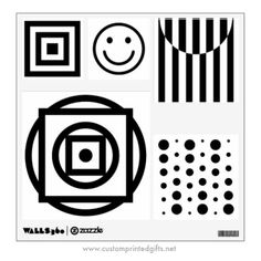 Baby visual stimulation picture wall decals with black and white, high-contrast shapes and patterns.
