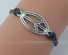 Peace Charm Bracelet Peace Sign Peace Symbol Wax Cords by NewGifts, $1.66
