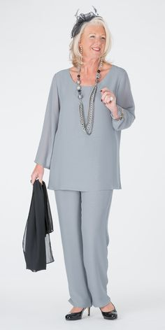 Box 2 silver chiffon double layer 3/4 sleeve top and trouser at Box 2