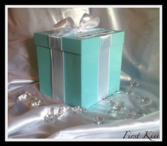 One Tier Square Tiffany Style Wedding Card by FirstKissWeddingBox, $44.95