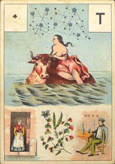 Antique Vintage Old Lenormand Fortune Telling Oracle Cards Deck 1890 Grand Jeu