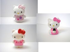 Lot of 3 Hello Kitty assorted material and size collectiable figures toy Sanrio