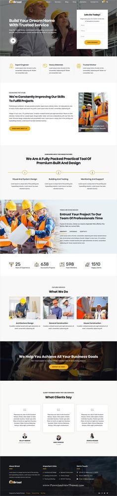 Brixel is a clean and modern design 6in1 responsive #WordPress theme for #construction, architect and #building company website to download & live preview click on image or Visit  #webdeveloper