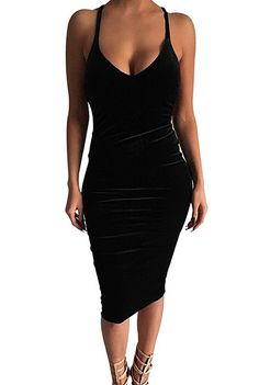 Carprinass Women's Sleeveless Bodycon Midi Dress Velvet Club Bandage Dress  Price:  $30.99 Sale:  $17.59 - $17.99