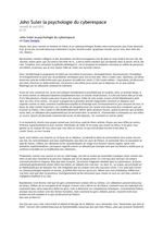 John Suler  : la psychologie du cyberespace