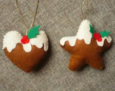 Felt Ginger Cookie Tree Ornaments-Christmas by GingerSweetCrafts