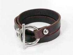 Brown Leather Bracelet Leather Cuff  Wrap Bracelet with Toggle Clasp on Etsy, $9.00