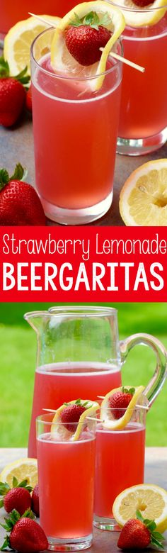 These Strawberry Lemonade Beergaritas come together so fast!  It's the perfect summer party cocktail!