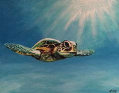 Sea Turtle, original acrylic painting by artist Maureen McKay Turtle, Sea, The Originals, Artist, Painting, Animals, Animales, Tortoise, Animaux