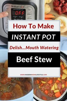 Simple and Easy Instant Pot Beef Stew Recipe!  Mouth Watering and Quick and easy to prepare and make. Simple  Easy Food hasn't ever tasted this good! Learn How to dinner can be so quick, easy and yummy, for the whole family to enjoy!