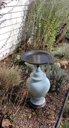 Upcycled Garden Bird Bath or Bird Feeder, Robin Egg/Powder Blue, Shabby Chic/Cottage Chic Yard Art. $89.95, via Etsy.