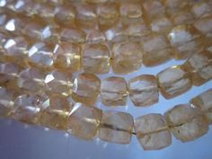 8 inch citrine faceted box beads strand 6mm 35 pcs