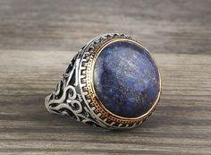 925 K Sterling Silver Man Ring  Blue Lapis Gemstone 10,75 US Size #istanbuljewelry #Cluster