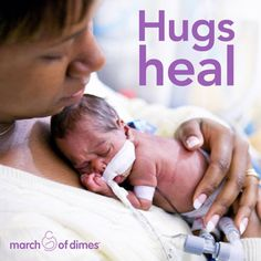 Kangaroo Care: Holding your preemie close, skin-to-skin, to help comfort her. It's the hug that heals! #WorldPrematurityDay