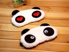 Set 0f 2 ~ Super Soft & Comfortable For Proper Sleep ~ Dreamy Eyes + Heart Panda Sleeping Eye Mask ~ Nap Eye Shade Cartoon Blindfold…
