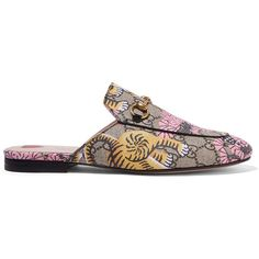 Gucci Princetown printed coated-canvas slippers ($695) ❤ liked on Polyvore featuring shoes, slippers and beige