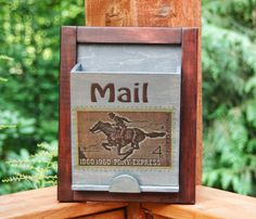 Mail Box Holder- Wall organizer -  Pony Express Stamp Letter Holder by ClaricesAttic on Etsy
