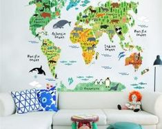 Cheap sticker for kids room, Buy Quality wall stickers for kids directly from China wall sticker Suppliers: Colorful Animal World Map Wall Decals Bedroom Nursery Room Decoration PVC Mural Art DIY Wall Stickers for Kids Rooms Home Decor Removable Wall Stickers, Wall Stickers Murals, Nursery Wall Decals, Nursery Room, Boy Room, Kids Bedroom, Child's Room, Room Baby, Map Bedroom