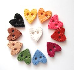 Button Country Colored Sitched Hearts handmade polymer clay buttons ( 11 )