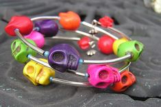 Day of the Dead Skull Wrap Around Bracelet Multi by shabbyskull, $25.00