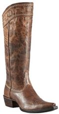 The Ariat Ladies Sassy Brown Sahara Western Boot combines trend setting fashion style with its snip toe, scoured distressed  1¾